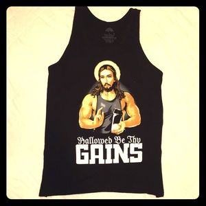 Tank Top Muscle Shirt - Hallowed Be Thy Gains